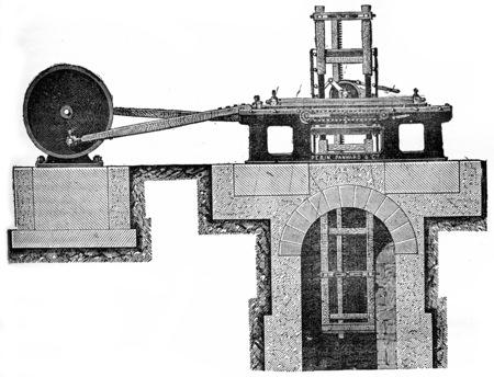 veneer: Horizontal saw veneer, vintage engraved illustration. Industrial encyclopedia E.-O. Lami - 1875.