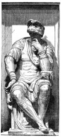 michelangelo: Lorenzo de Medici, Michelangelo, vintage engraved illustration. Industrial encyclopedia E.-O. Lami - 1875.