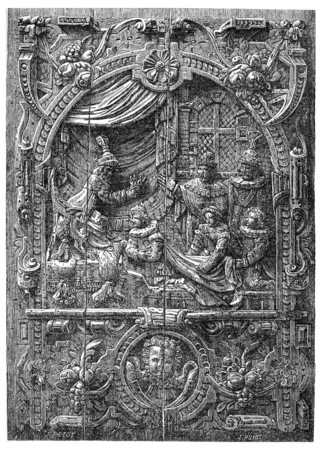 Bas-relief d'un coffre français du XVIe siècle. Couronnement de Henri d'Anjou, roi de Pologne, dans l'église Saint-Stanislas à Cracovie, illustration vintage gravé. E.-O. encyclopédie industrielle Lami - 1875. Banque d'images - 40111351