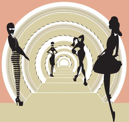 Illustration with four girls Illustration