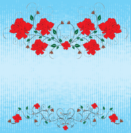 backdrop: Grunge backdrop with red flowers Illustration
