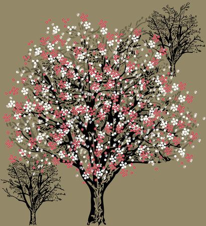 Vintage invitation card with elegant floral tree design.
