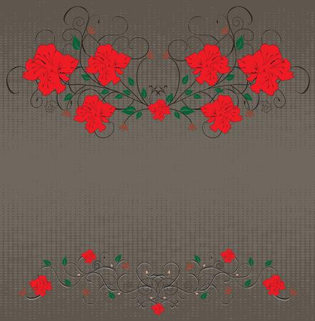 Vintage background with grunge elegant retro floral design, red flowers on gray.  Illustration
