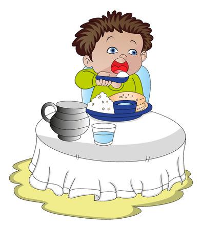 eating food: illustrazione del ragazzo affamato mangiare cibo.