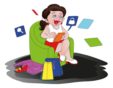 armchair shopping: illustration of happy woman shopping online.