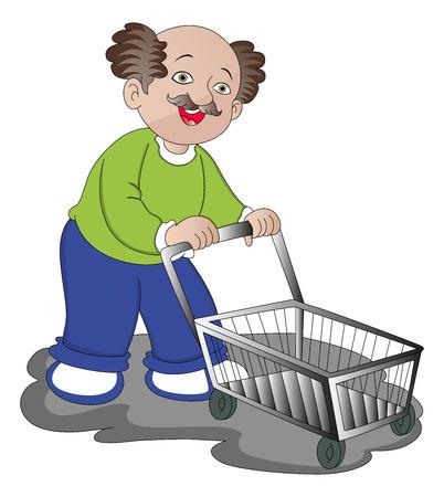 man pushing: illustration of man pushing empty shopping cart.