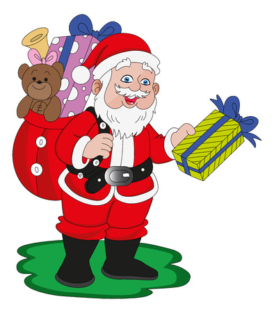 santaclaus: illustration of santaclaus with christmas gifts.