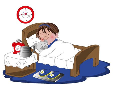 letti: illustrazione della bambina sveglia che dorme con il suo orsacchiotto sul letto.