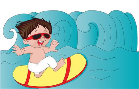 illustration of boy enjoying on surfboard. Çizim