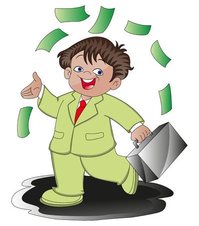 money flying: ilustración de feliz hombre de negocios llevar maletín, dinero volando por todas partes.