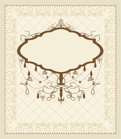 Vintage invitation card with ornate elegant retro abstract floral design, brown flowers and leaves on beige background with frame borders and chandelier plaque text label. Illustration