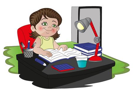 illustratie van een meisje het lezen van een boek onder lampenkap.