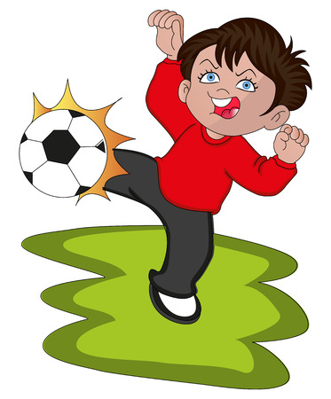 サッカー ボールを蹴っている男の子のイラスト。  イラスト・ベクター素材