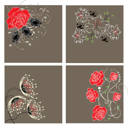 enchanting: Set of four (4) vintage invitation cards with elegant retro abstract floral designs, on gray.