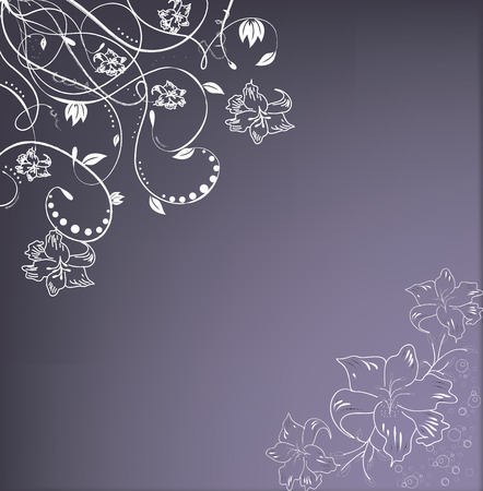 Vintage invitation card with elegant retro abstract floral design, white flowers on purple.  Illustration