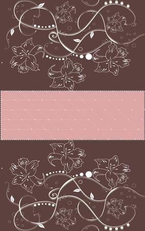 Vintage invitation card with elegant floral design, brown.