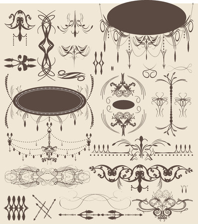 enchanting: Vintage elements with ornate elegant abstract floral designs, brown on gray.