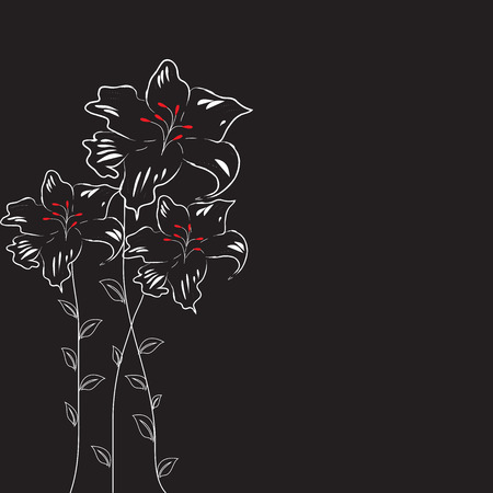 Vintage invitation card with elegant abstract floral design, on black.