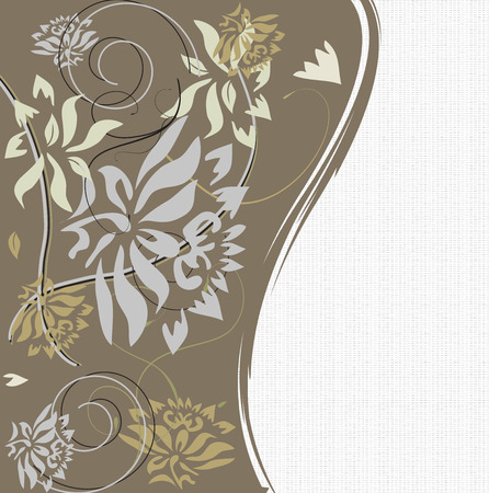 brownish: Vintage invitation card with ornate elegant retro abstract floral design, gray pale yellow and light brown flowers and leaves on brownish gray and white mesh background with text label.