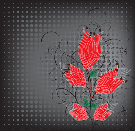 motley: Grunge backdrop with a red flowers