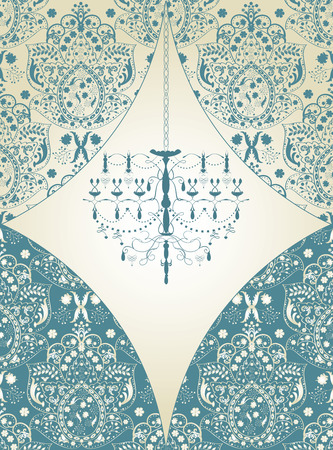 Vintage invitation card with ornate elegant abstract floral design, light blue on gray with chandelier. 일러스트