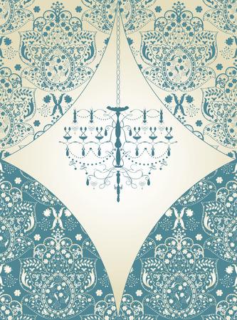 Vintage invitation card with ornate elegant abstract floral design, light blue on gray with chandelier. Ilustração