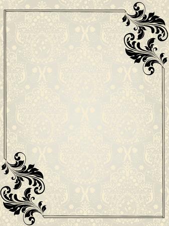 verschnörkelt: Vintage-Einladung mit kunstvollen elegant abstrakten Blumenmuster, schwarz auf silber und hellgelb mit Bordüre. Illustration