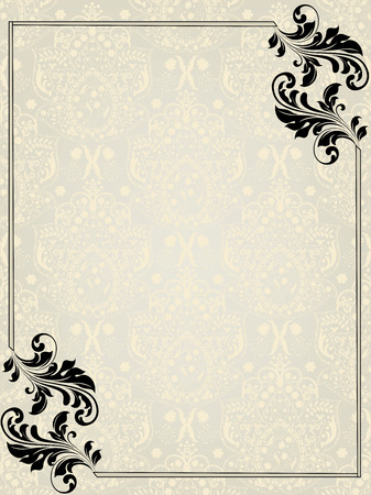 Vintage invitation card with ornate elegant abstract floral design, black on silver and pale yellow with border.