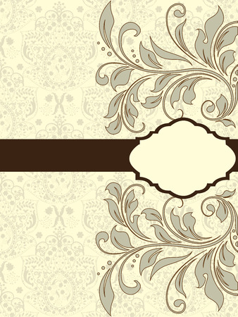 Vintage invitation card with ornate elegant abstract floral design, brown and gray on pale yellow with ribbon.