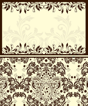 pale yellow: Vintage invitation card with ornate elegant abstract floral design, brown and gray on pale yellow.  Illustration