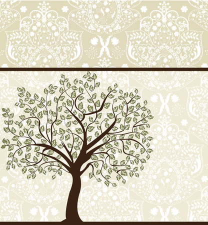 Vintage invitation card with ornate elegant abstract floral tree design, brown and white on gray.  Vector