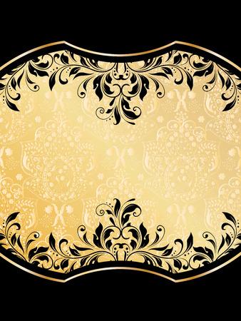 enchanting: Vintage invitation card with ornate elegant abstract floral design, black on light orange.