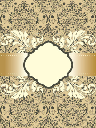 Vintage invitation card with ornate elegant abstract floral design, gray on light brown with ribbon.