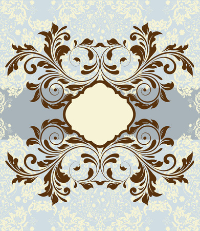 blue card: Vintage invitation card with ornate elegant abstract floral design, brown and gray on pale blue and yellow.