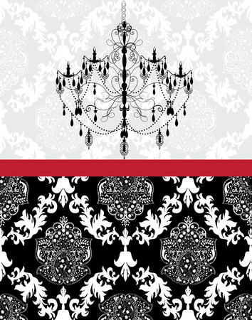 Vintage invitation card with ornate elegant abstract floral design, white on gray and black with chandelier.