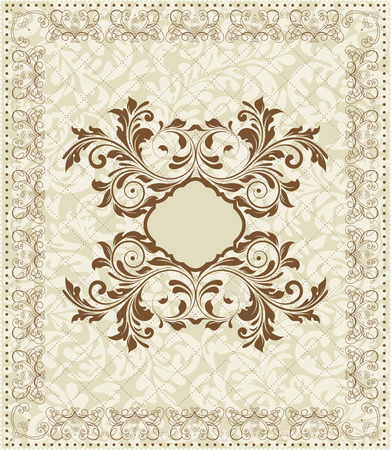 Vintage invitation card with ornate elegant abstract floral design, brown on gray.