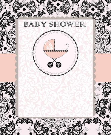 invitacion baby shower: Tarjeta de la vendimia de bienvenida al bebé de invitación con diseño floral abstracto elegante adornado, negro sobre rosa con el carro de bebé en la torta. Ilustración del vector.