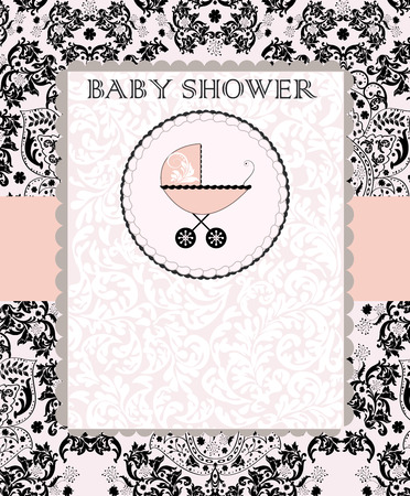 Vintage baby shower invitation card with ornate elegant abstract floral design, black on pink with baby carriage on cake. Vector illustration. Vettoriali