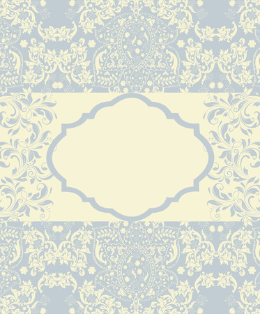 Vintage invitation card with ornate elegant abstract floral design, pale blue and pale yellow. Illustration