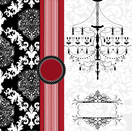 Vintage invitation card with ornate elegant abstract floral design, black and white on gray with chandelier and red ribbon. Illustration