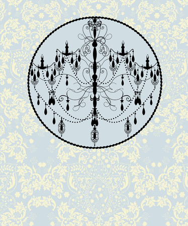 Vintage invitation card with ornate elegant abstract floral design, black on pale blue and yellow with chandelier.