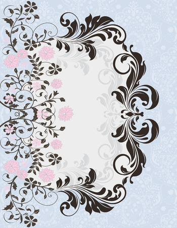 enchanting: Vintage invitation card with ornate elegant abstract floral design, pink flowers on pale blue and gray.