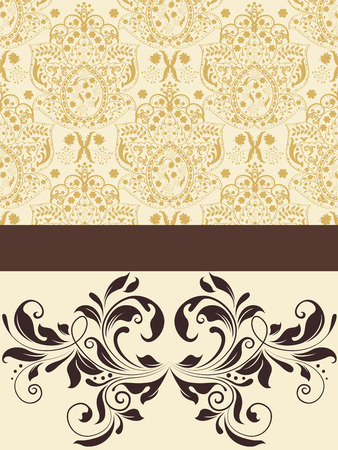 pale yellow: Vintage invitation card with ornate elegant abstract floral design, brown on pale yellow.  Illustration