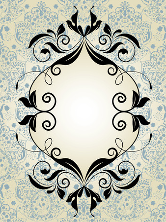 Vintage invitation card with ornate elegant abstract floral design, black and pale blue on gray.