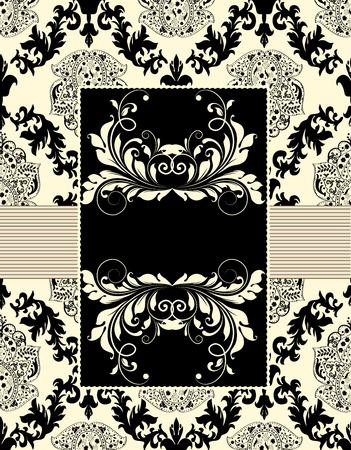 Vintage wedding invitation card with ornate elegant abstract floral design, black on flesh.