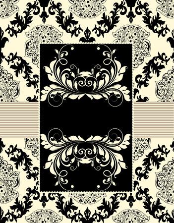 flesh: Vintage wedding invitation card with ornate elegant abstract floral design, black on flesh.