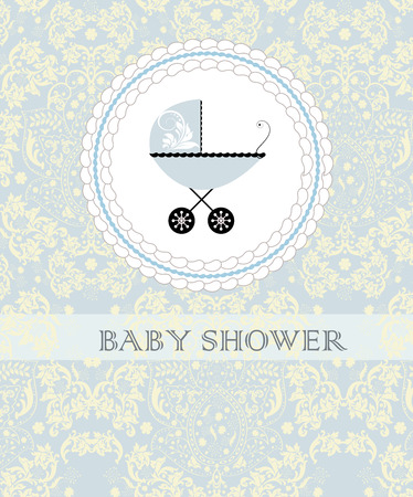 pale yellow: Vintage baby shower invitation card with ornate elegant abstract floral design, pale yellow on pale blue with baby carriage on cake.