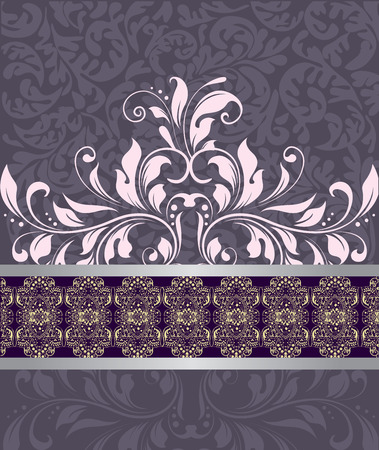 Vintage invitation card with ornate elegant abstract floral design, pink on purple.  Ilustração