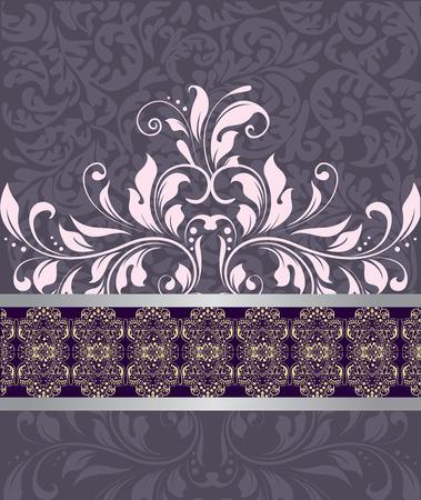 enchanting: Vintage invitation card with ornate elegant abstract floral design, pink on purple.  Illustration