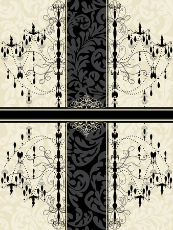 Vintage invitation card with ornate elegant abstract floral design, black chandelier on gray with ribbon.